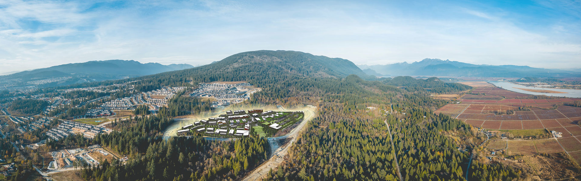 Aerial shot of location of Burke Mountain Village