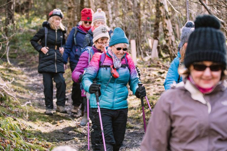 Elderly women on hiking trail